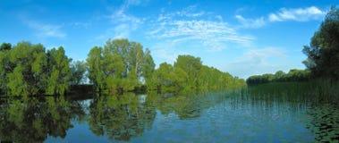 Paesaggio romantico di estate al fiume Fotografie Stock