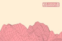 Paesaggio rosa della montagna su un fondo giallo illustrazione di stock