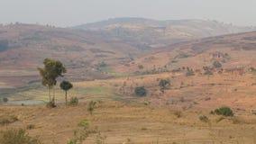 Paesaggio rosso della montagna con cielo blu nel Madagascar Fotografie Stock Libere da Diritti