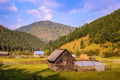 Paesaggio rumeno delle montagne nella zona rurale immagini stock
