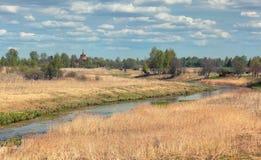 Paesaggio rurale con alta erba asciutta Fotografia Stock