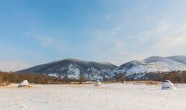 Paesaggio rurale con i campi ed i mucchi di fieno innevati, nell'inverno Fotografia Stock Libera da Diritti