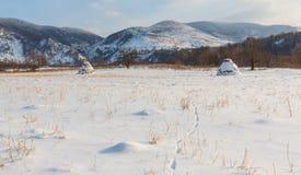 Paesaggio rurale con i campi ed i mucchi di fieno innevati, nell'inverno Immagine Stock Libera da Diritti