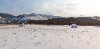 Paesaggio rurale con i campi ed i mucchi di fieno innevati, nell'inverno Immagini Stock Libere da Diritti