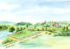 Paesaggio rurale con il fiume e l'azienda agricola Fondo disegnato a mano dell'acquerello Fotografia Stock