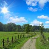 Paesaggio rurale con il percorso attraverso i prati Fotografia Stock Libera da Diritti
