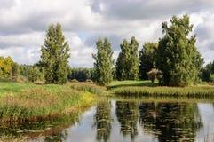 Paesaggio rurale con il piccolo lago in Pushkinskiye sanguinoso Fotografia Stock