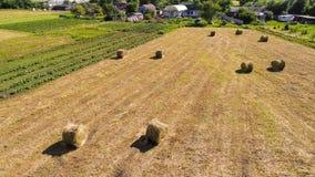 Paesaggio rurale con le balle di paglia nel campo La Russia Immagine Stock Libera da Diritti