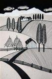 Paesaggio rurale con le colline e le pile del fieno fotografia stock libera da diritti