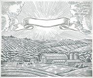 Paesaggio rurale con le mucche e nastro adesivo per le etichette royalty illustrazione gratis