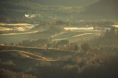 Paesaggio rurale con nebbia e la luce di alba fotografie stock libere da diritti