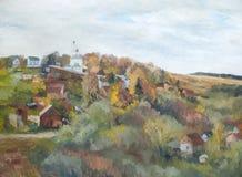 Paesaggio rurale con una chiesa, paesaggio di autunno fotografia stock