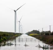 Paesaggio rurale del mulino di vento Immagine Stock
