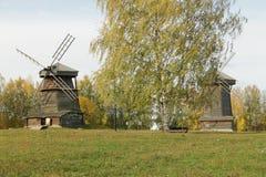 Paesaggio rurale del mulino di vento Immagini Stock