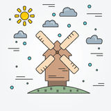 Paesaggio rurale del mulino di vento Linea sottile icona Immagini Stock