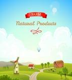 Paesaggio rurale dell'azienda agricola Fondo dell'azienda agricola Illustrazione di vettore Immagine Stock