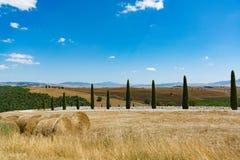 Paesaggio rurale della Toscana con le colline, i cipressi ed i mucchi di fieno Immagini Stock