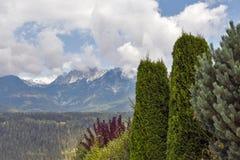 Paesaggio rurale delle alpi austriache nelle nuvole Haus, Stiria Fotografia Stock