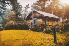 Paesaggio rurale dello spostamento di inclinazione con la casa Immagine Stock Libera da Diritti