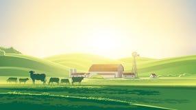 Paesaggio rurale di alba Immagine Stock