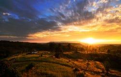 Paesaggio rurale di alba Fotografia Stock
