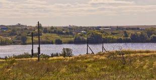 Paesaggio rurale di autunno con il fiume La Russia Fotografia Stock