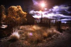 Paesaggio rurale di colore falso infrarosso Fotografia Stock