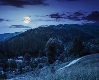Paesaggio rurale di estate in alte montagne alla notte Immagini Stock Libere da Diritti