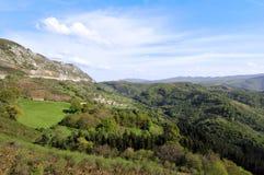 Paesaggio rurale di estate di Guipuzcoa Immagine Stock