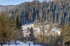Paesaggio rurale di inverno al piede delle alte montagne Immagini Stock Libere da Diritti