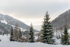Paesaggio rurale di inverno al piede delle alte montagne Fotografia Stock Libera da Diritti