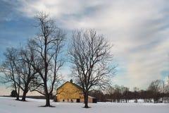 Paesaggio rurale di inverno con il granaio ed il cielo blu gialli Fotografia Stock Libera da Diritti