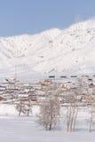 Paesaggio rurale di inverno in Siberia Il villaggio nel moun di Altai Fotografia Stock Libera da Diritti
