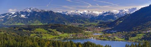 Paesaggio rurale di panorama in Baviera Fotografia Stock