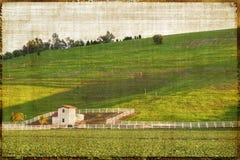 Paesaggio rurale di stile dell'annata fotografie stock libere da diritti
