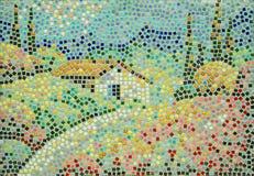 Paesaggio rurale eseguito nella tecnica di mosaico ceramico fotografie stock