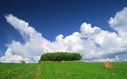Paesaggio rurale estate/di Hay Bale Farm con le balle e le nuvole Immagini Stock Libere da Diritti
