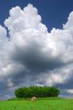 Paesaggio rurale estate/di Hay Bale Farm con le balle e le nuvole Immagine Stock