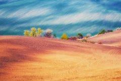 Paesaggio rurale, fondo artistico del giacimento agricolo della natura fotografia stock libera da diritti