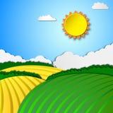 Paesaggio rurale pieno di sole illustrazione vettoriale