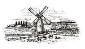 Paesaggio rurale, schizzo del villaggio Agricoltura, coltivante annata royalty illustrazione gratis