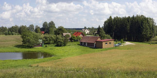 Paesaggio rurale tipico della Lituania orientale Fotografia Stock Libera da Diritti