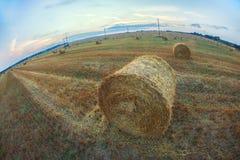 Paesaggio rurale: Una pila di fieno dorato su un campo Immagini Stock