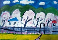 Paesaggio rustico con di melo in fioritura illustrazione di stock