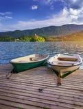 Paesaggio sanguinato iconico Barche di legno tradizionali Pletna nel lago sanguinato, Slovenia, Europa Barche di legno con la chi immagini stock