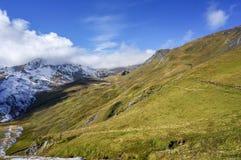 Paesaggio sbalorditivo delle montagne dell'alpe dell'erba verde con lustro i del sole Fotografia Stock Libera da Diritti