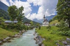 Paesaggio scenico della montagna nelle alpi bavaresi Fotografie Stock Libere da Diritti