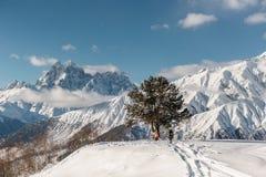 Paesaggio scenico di inverno dei pendii di alta montagna Fotografia Stock