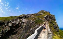 Paesaggio scenico di San Juan de Gaztelugatxe, Paese Basco, Spagna fotografia stock