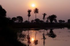 Paesaggio scenico sul lago, riflessione di alba di alba su acqua fotografie stock